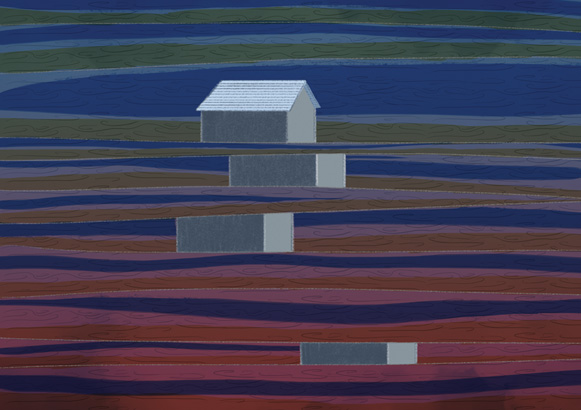 A series of digital prints based on houses.